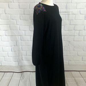 VINTAGE 80s Lady Darian Black Sequined Dress 1X